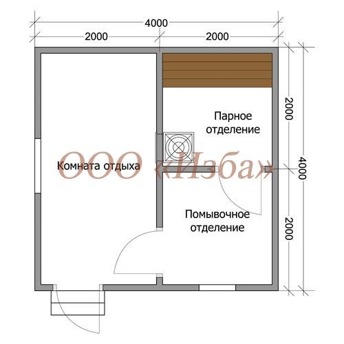 Каркасная баня №8 (4 х 4м)